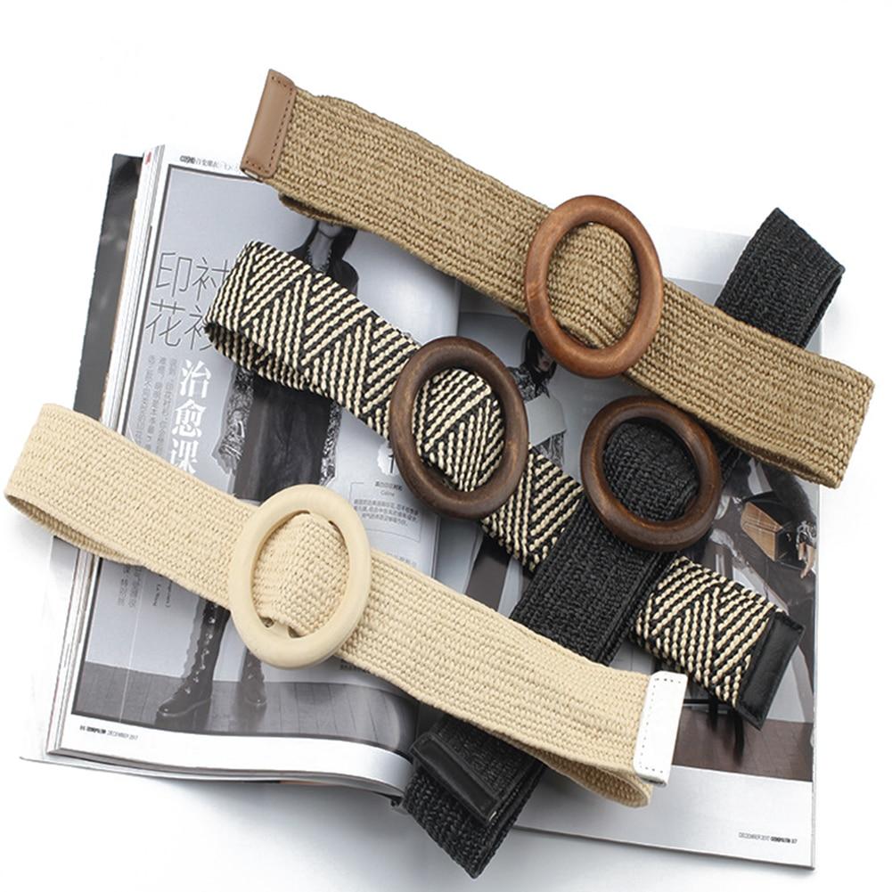 Fashion Women Casual Braided Wide Woven Round Wooden Buckle Straw Belt Waistband
