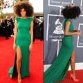 2016 Grammy Awards Solange Knowles Celebrity Dresses Sexy Jewel Fenda Verde Do Vintage de Lantejoulas Celebridade Prom Vestidos de Noite Formais