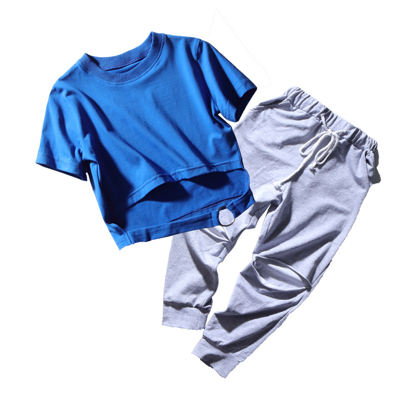 Teenage Girls Clothing Styles Black Blue Summer Crop Tee Shirt Top Blank Short Sleeve And Ripped Pant Dance Set in Clothing Sets from Mother Kids