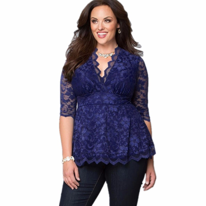 7b6218a7 Brand New Womens Plus Size 5xl Fashions T-shirt Female Large Size Clothes  Three Quarter Lace V Neck Shirt Dresses Ladies Tops