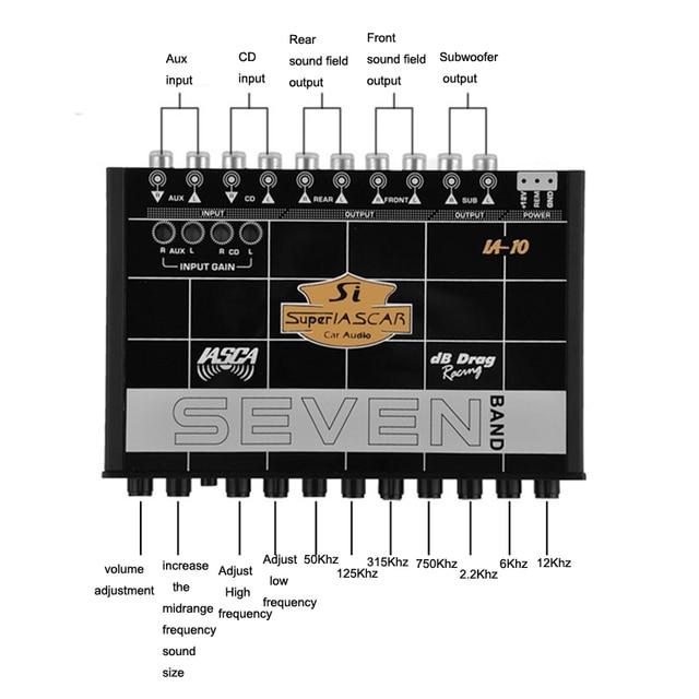 Car Audio Tuner 7 Band Equalizer Eq Crossover Audio Processor