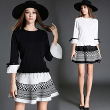 New 2017 Women Sweater Skirt Clothing Set Knit Two-Piece Europe Fashion High Quality Puffle Suit Outfit White Black Size S M L