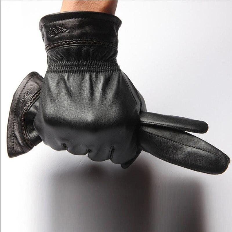 CR New <font><b>Men's</b></font> <font><b>Genuine</b></font> <font><b>Leather</b></font> <font><b>Gloves</b></font> Winter Thicken Warm Mittens Black <font><b>Motorcycle</b></font> <font><b>High</b></font> <font><b>Quality</b></font> Wrist <font><b>Gloves</b></font> AT026