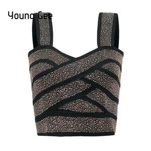 Image 1 - Jong Gee Punk Stijl Korte Glitter Sequin Bustier Vrouwen Sexy Bralette Bandage Crop Top Femme Elastische Buis Camisoles Tops Mujer