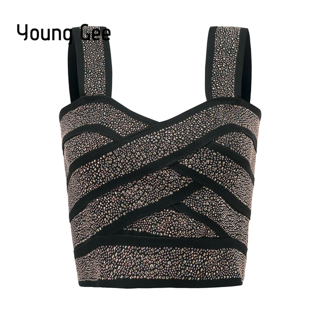 Young Gee Punk Style Short Glitter Sequin Bustier Women Sexy Bralette Bandage Crop Top Femme Elastic Tube Camisoles Tops mujer