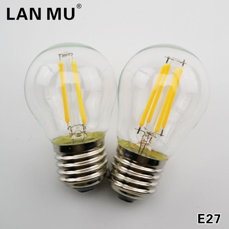 LAN му 6 шт. светодиодный накаливания E27 g45 AC 220 В-240 В E14 Винтаж 2 Вт 4 Вт 6 Вт edison лампы накаливания Декор лампы светодиодный специальности декорат...