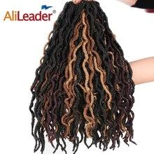 AliLeader 18 дюймов Nu накладки из искусственных волос эффектом деграде(переход от темного к плетение волос дреды, Loc накладные волосы на крючке, 20 нитей богиня Faux Locs CURLY, на крючках, косички