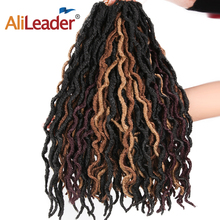 AliLeader 18inch Nu Locs Synthetic Ombre Braiding Hair Dread Loc Crochet 20strands Goddess Faux Curly Braids
