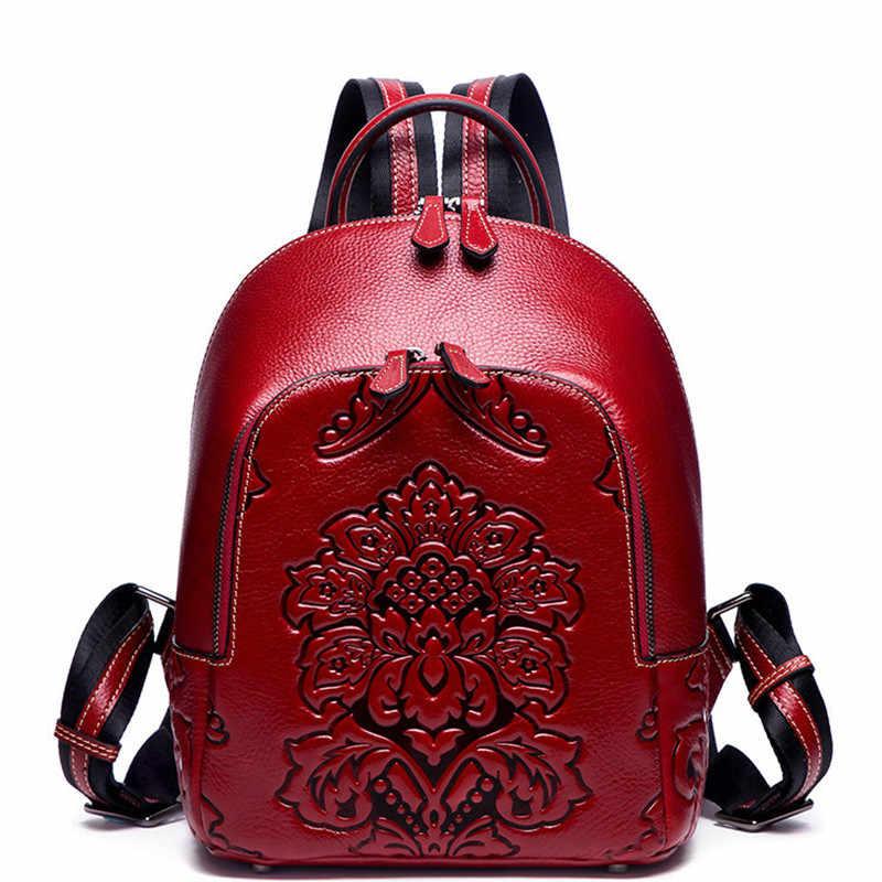 BERAGHINI Marka Hakiki Deri Kadın Sırt Çantası Bağbozumu Kabartma Sırt Çantası Kızlar için Lüks okul çantası Yüksek Kaliteli Seyahat Çantası