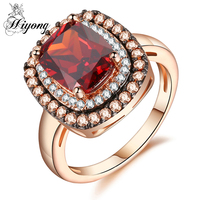 HIYONG Retro Style Wedding Ring Classic Cushion Cut Red Coffee Cubic Zirconia Two Tone Color Jewelry