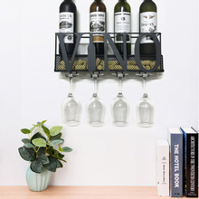 VINO Design Metal Wall Mounted Wine Rack with Cork Storage & Stem Glasses for Hanging - Home Kitchen Decor