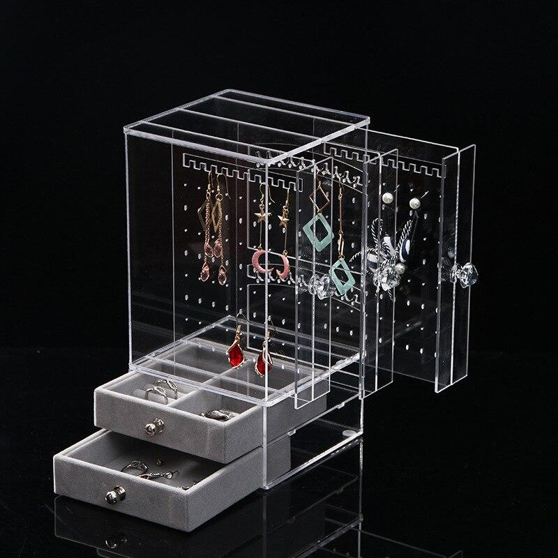Boîte de présentation de bijoux en acrylique porte-bijoux anneaux de maquillage bijoux collier boucle d'oreille boîte de rangement avec 2 tiroirs