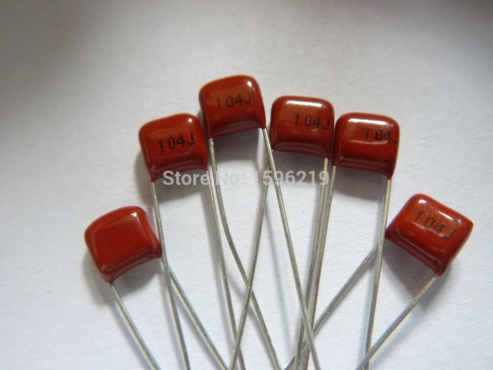 50pcs CBB Capacitor 104 100V 104J 0.1uF 100nF P5 Metallized Polypropylene Film Capacitor