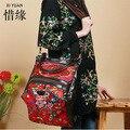XIYUAN MARCA chinesa Requintado 100% couro genuíno do vintage nacional bordado floral grande Saco Crossbody ombro mulheres étnicas