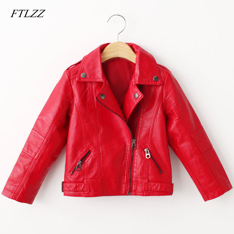 2018 Spring Autumn Fashion Pu Jacket For Baby Girl Turn-down Collar Long Sleeve Children Leather Outwear Teenage Girls coat