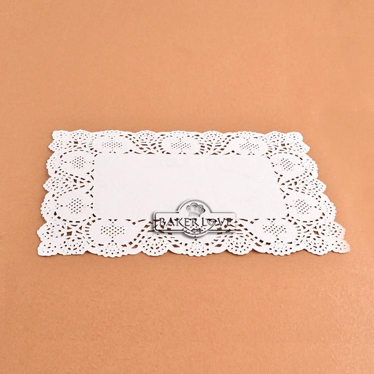 Bakest 250pcs Per Lot 659 Inch Rectangle White Lace Paper Doilies