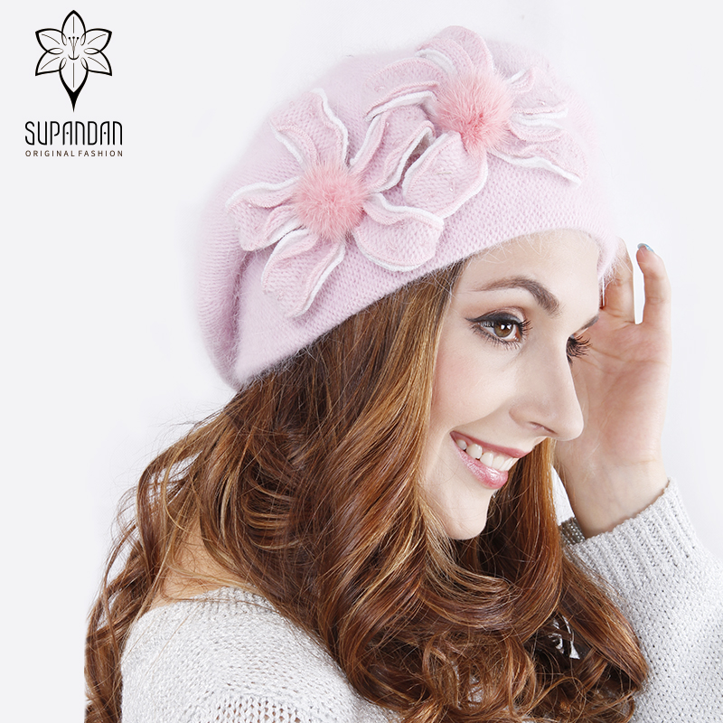 SUPANDAN Knitted Hand Made Beret Hat Scarf Set Women Cap Thick Warm Floral Decoration Wool Windproof