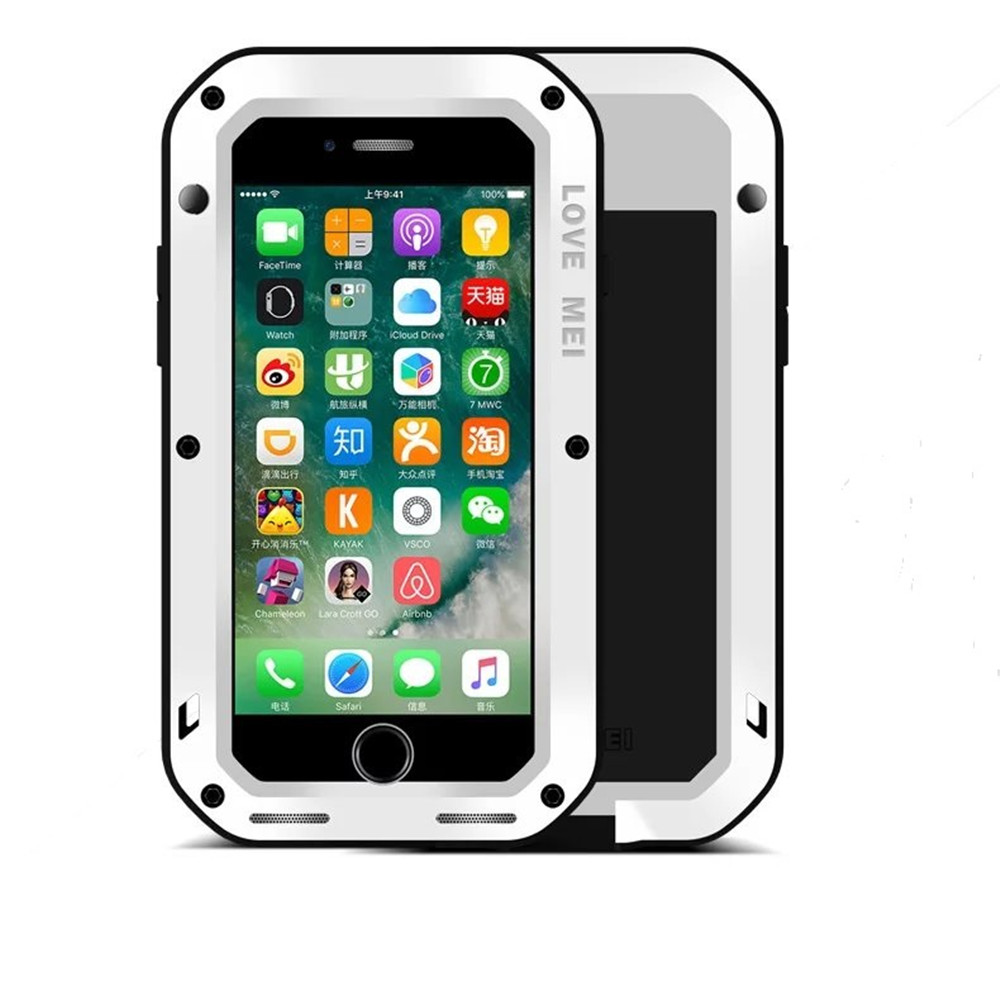 Outdoor Dustproof Shockproof Waterproof Aluminum Metal&Silicone Armored Hybrid Heavy Duty Cover Case for Iphone 7 Plus 5.5  Inch