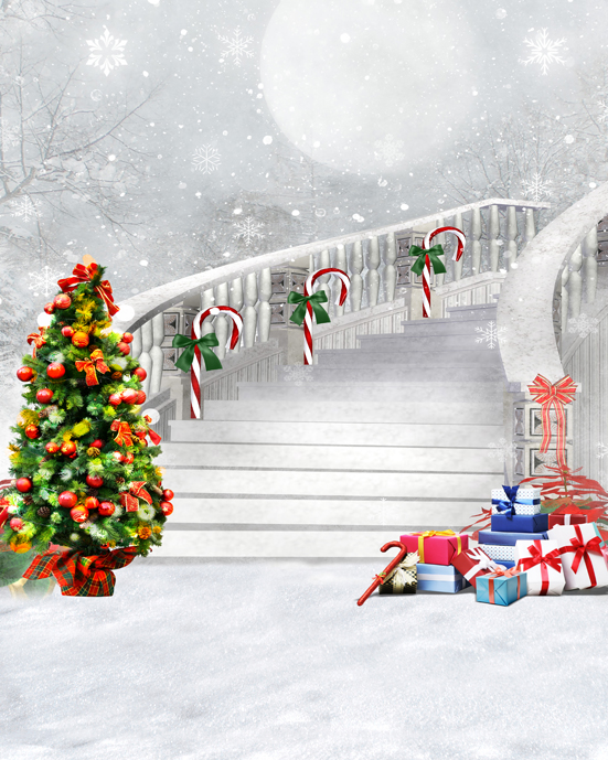 Customize Christmas village house photography backdrops 10ft vinyl digital cloth for photo studio background L-875