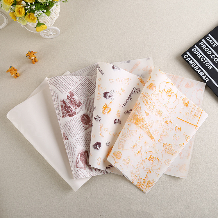 500pcs 26x36cm kinds of printed greaseproof baking wax paper sandwich wrapping paper for bakery. Black Bedroom Furniture Sets. Home Design Ideas