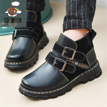 2017 autumn and winter plus velvet children's snow boots genuine leather girls black leather school shoes children leather shoe