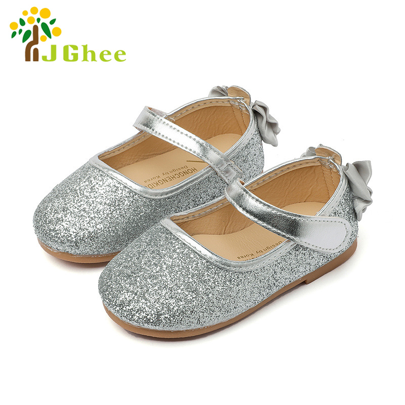 J Ghee 2017 Baby Girls PU Leather Shoes Kids Flat Sequins Bling With Bowtie Back Shoes chaussure enfant mariage Party Princess