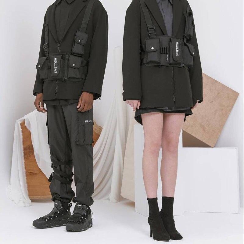 Mannen Tactische Functionele Vest Hiphop Streetwear Bag Harness Borst Rig Tas Unisex Oxford Twee Zakken Vrouwen