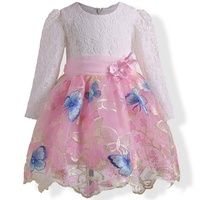 2017 Baby Girl Dress Gold Embroidery Spring Autumn Girls Lace Dress For School Casual Wear Long