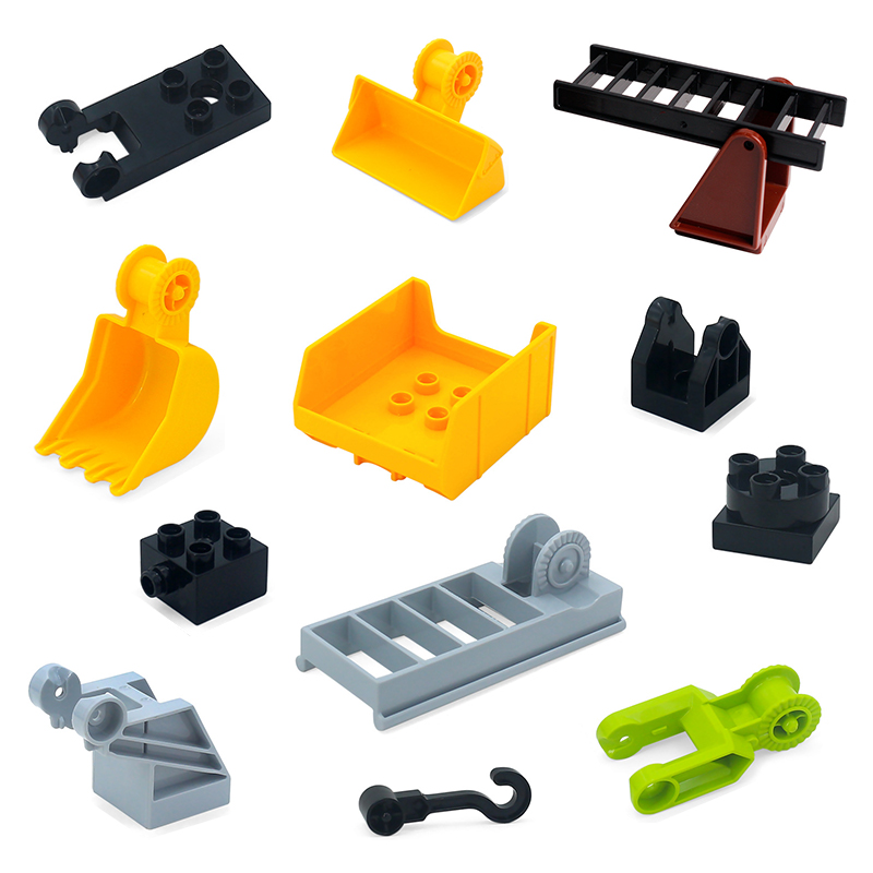 Big Building Block Machine Accessories Car Hopper Hook Robotic Arm Compatible With Duplo Diy Assembly Educational Toys For Kid