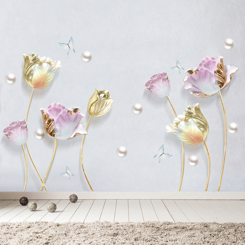 New 5D wall stickers tulip flower PVC removable waterproof DIY decorative painting creative wallpaper