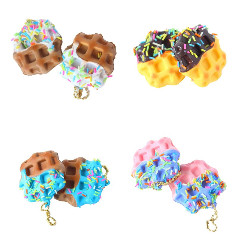 New Waffles Squishy Toys Slow Rising Antistress Stress Relief Toy Kids Toy Mobile Phone Straps Bags Pendant