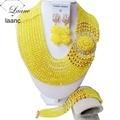 Лучшие продажи! новый Желтый Кристалл Костюм Нигерийские Африканских Свадебные Ювелирных Изделий Шариков Ожерелья NC1265