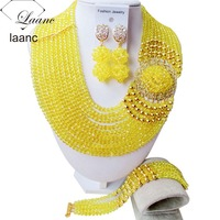 Splendid 2015 New Yellow Crystal Costume Necklaces Nigerian Wedding African Beads Jewelry Set NC1265
