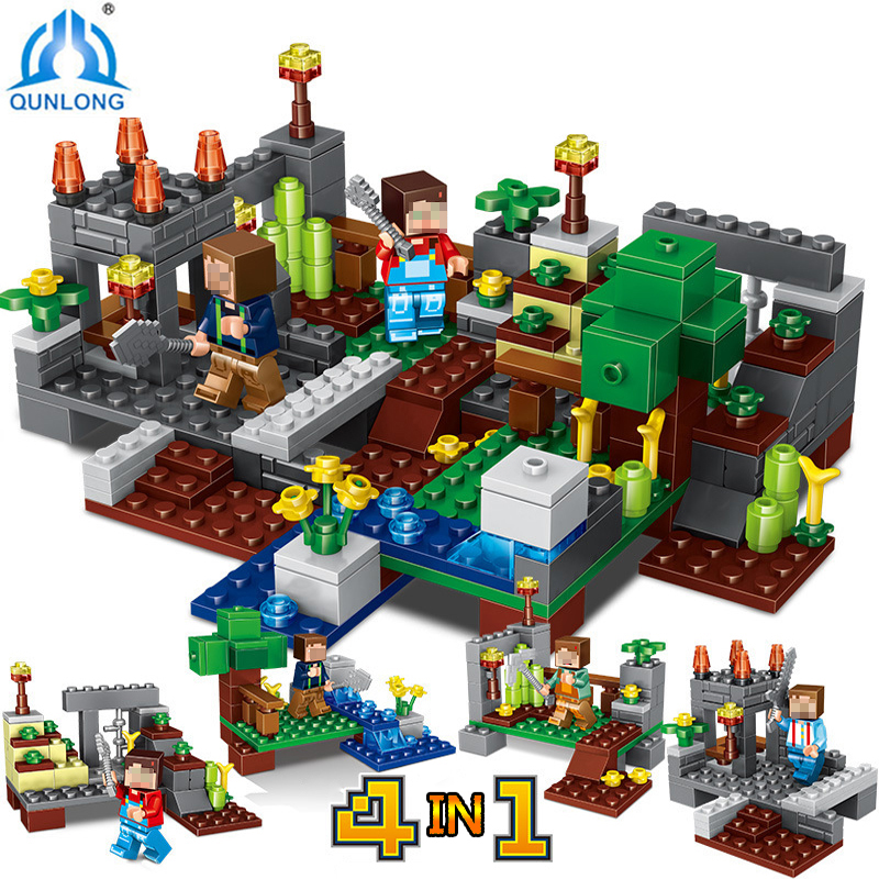 Qunlong506 Compatible Legos Minecraft City Building Blocks 4 in 1 Town Group Action Toy Figures Bricks Educational Toys For Kids