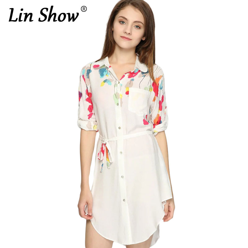 f60c9f79eb22 LINSHOW Floral Print Women Mini Dress Summer Long Sleeve Lapel Cotton  Ladies Shirts Dress Pockets Belt Sheath Button Dress-in Dresses from Women's  Clothing ...