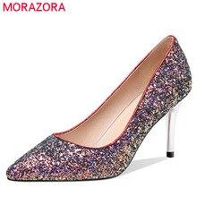 MORAZORA 2019 جديد وصول الخنجر عالية الكعب أحذية امرأة وأشار اصبع القدم أنيقة مثير اللباس أحذية حزب أحذية الزفاف النساء مضخات
