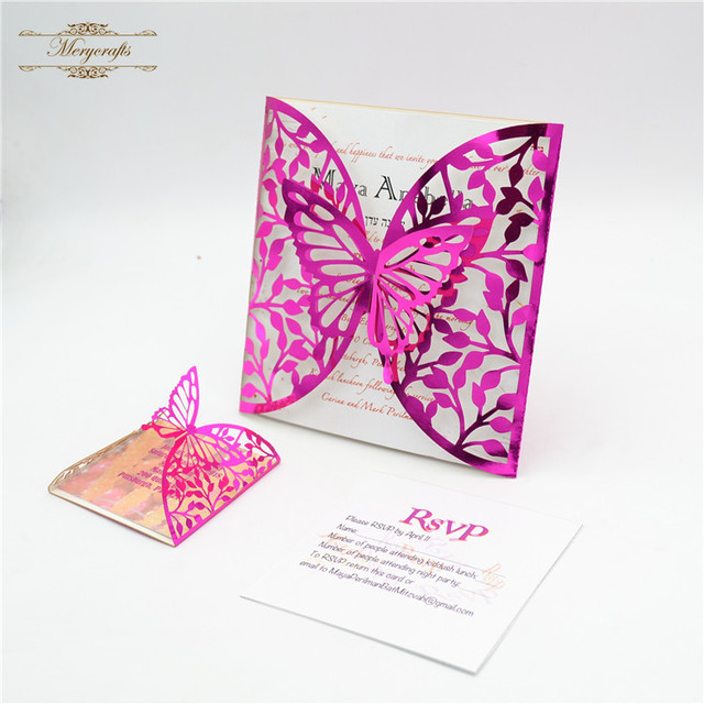 Luxury Hot Pink Butterfly Laser Cut Wedding Invitations In Cards