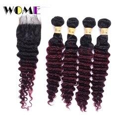 Wome T1B/99J Malaysische Tiefe Welle Bundles Mit Verschluss Rotwein Farbe Menschliches Haar Curly 4 Bundles Mit Spitze verschluss Freies Teil