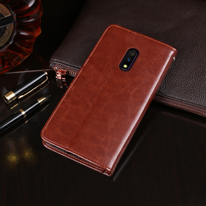 For <font><b>OPPO</b></font> <font><b>Realme</b></font> <font><b>X</b></font> Case Wallet Flip Business Leather Capa <font><b>Phone</b></font> Case for <font><b>Realme</b></font> <font><b>X</b></font> RMX1901 Cover Coque Accessories image