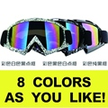 Adulto Motocross Goggles Motocicleta ATV googles Óculos de Lentes Coloridas Quadro Preto ski googles capacete off-road