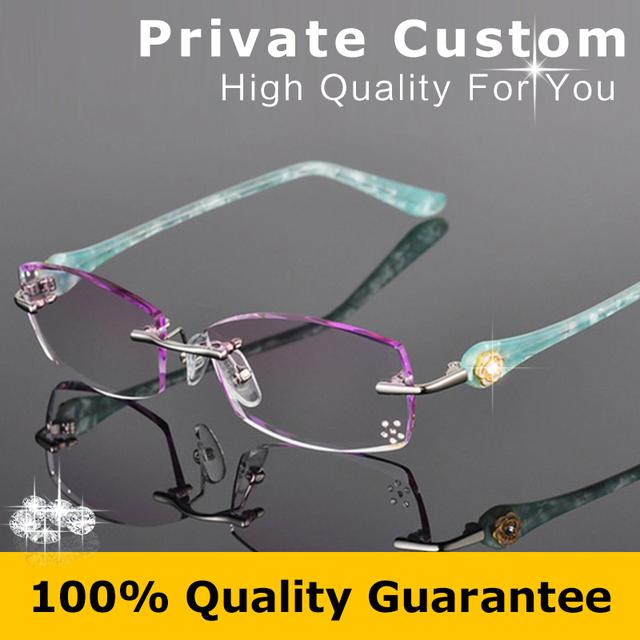 Nova Marca de Moda de Designer Mulheres Óculos De Armação de Óculos Sem Aro Prescrição Óptica com Caixa Feminino Óculos De Leitura Dos Olhos 616