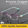 Nuevo Diseñador de Moda Marca Gafas Sin Montura Mujeres Marco de los Vidrios Ópticos con Receta Caja Femenina de las Gafas de Lectura 616