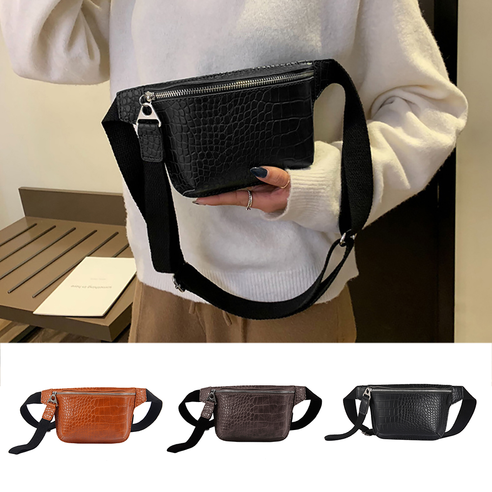 Waist Bag Women PU Leather Fanny Pack Fashion Belt Bag Women Phone Pouch Casual Black Chest Bags Girls Shoulder Backpack