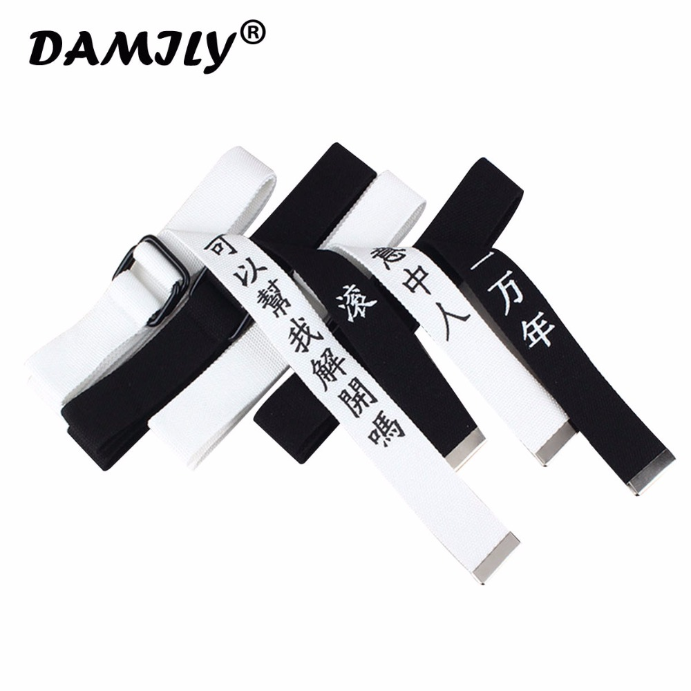New Harajuku Chinese Letter Printing Design Nylon   Belts   For Men And Women Ring Button Canvas Female   Belt   cinturon mujer femme