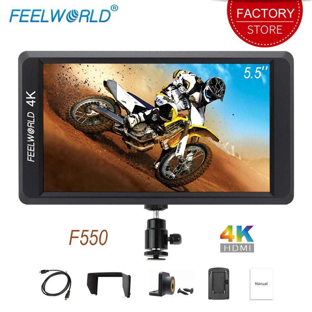 Feelworld F550 na aparat fotograficzny Mini Monitor 5.5 cal 4 K HDMI wejście wyjście IPS Full HD 1920×1080 dla stabilizator lustrzanek cyfrowych DSLR