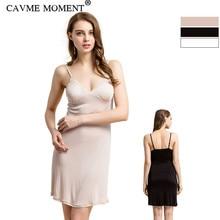 CAVME Summer Spaghetti Strap Silk Nightgown Plus Size Nightgowns Women Ladies Sexy Lace Sleepwear Elegant Underdress Underskirt
