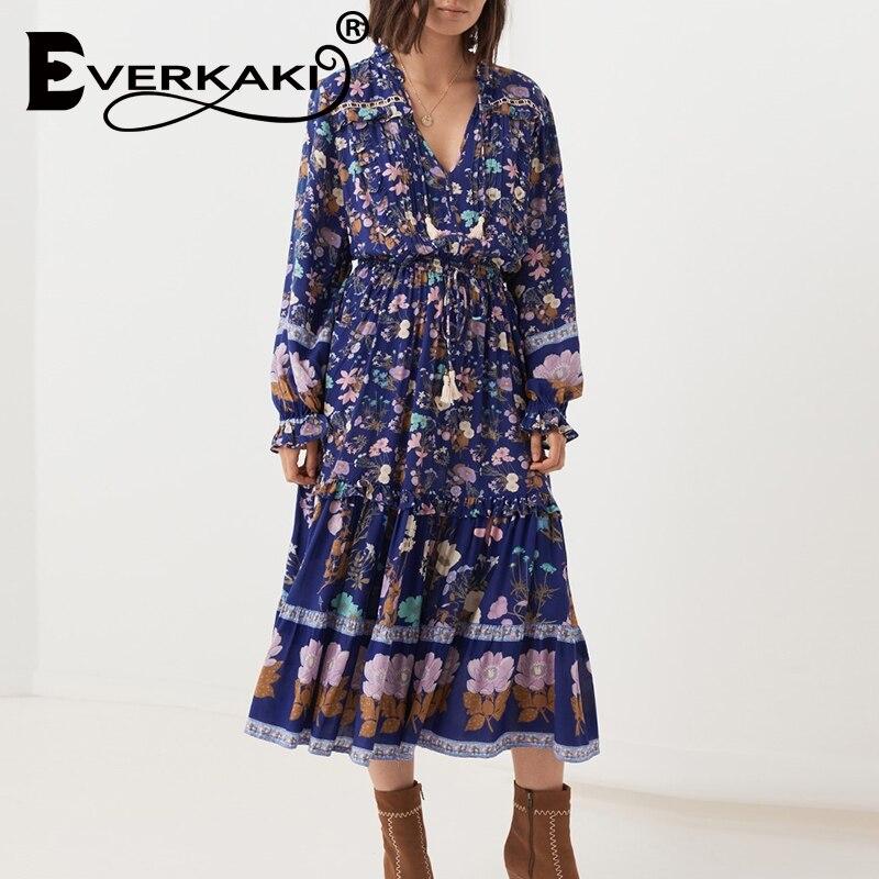Everkaki Vintage women birds floral print flare sleeve Bohemian rayon cotton maxi dress Lady v neck lace up ruffle Boho vestidos in Dresses from Women 39 s Clothing