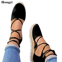 Classic Espadrilles Women 2018 Summer Women Flats Ankle Wrap Lace Up Hemp Bottom Shoes Woman Fur Balls Canvas Flat Shoes Plus 44
