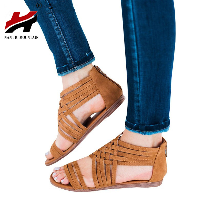 NAN JIU MOUNTAIN 2019 Summer Sandals Roman Style Zipper Casual Flat Bottom Toe Womens Shoes Plus Size 35-43NAN JIU MOUNTAIN 2019 Summer Sandals Roman Style Zipper Casual Flat Bottom Toe Womens Shoes Plus Size 35-43