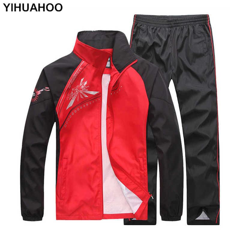 YIHUAHOO العلامة التجارية رياضية الرجال 4XL 5XL الربيع الخريف 2 اثنين من قطعة الملابس مجموعة ملابس رياضية عصرية جرزاية بذلة رياضية الرجال MS-6855